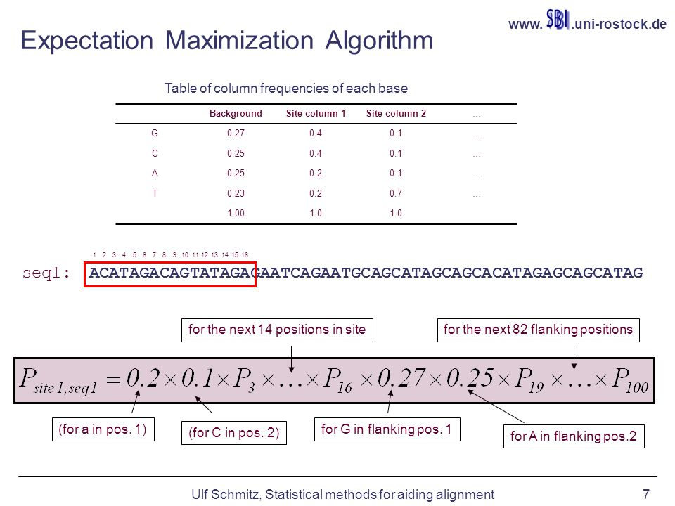 www..uni-rostock.de Ulf Schmitz, Statistical methods for aiding alignment7 Expectation Maximization Algorithm seq1: ACATAGACAGTATAGAGAATCAGAATGCAGCATAGCAGCACATAGAGCAGCATAG 16151413121110987654321 1.0 1.00 …0.70.20.23T …0.10.20.25A …0.10.40.25C …0.10.40.27G …Site column 2Site column 1Background (for a in pos.