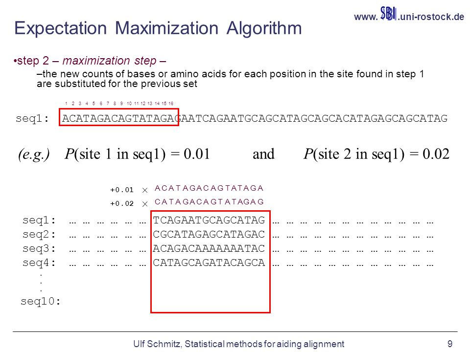 www..uni-rostock.de Ulf Schmitz, Statistical methods for aiding alignment9 Expectation Maximization Algorithm step 2 – maximization step – –the new co