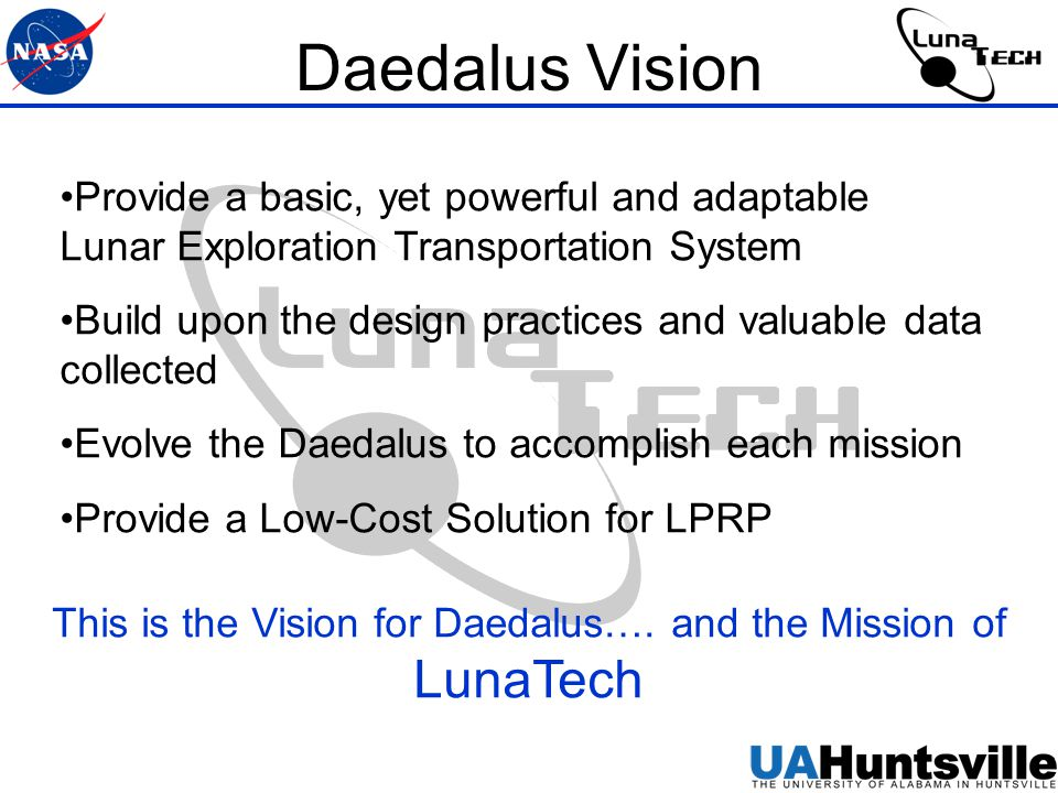Daedalus Vision Provide a basic, yet powerful and adaptable Lunar Exploration Transportation System Build upon the design practices and valuable data collected Evolve the Daedalus to accomplish each mission Provide a Low-Cost Solution for LPRP This is the Vision for Daedalus….