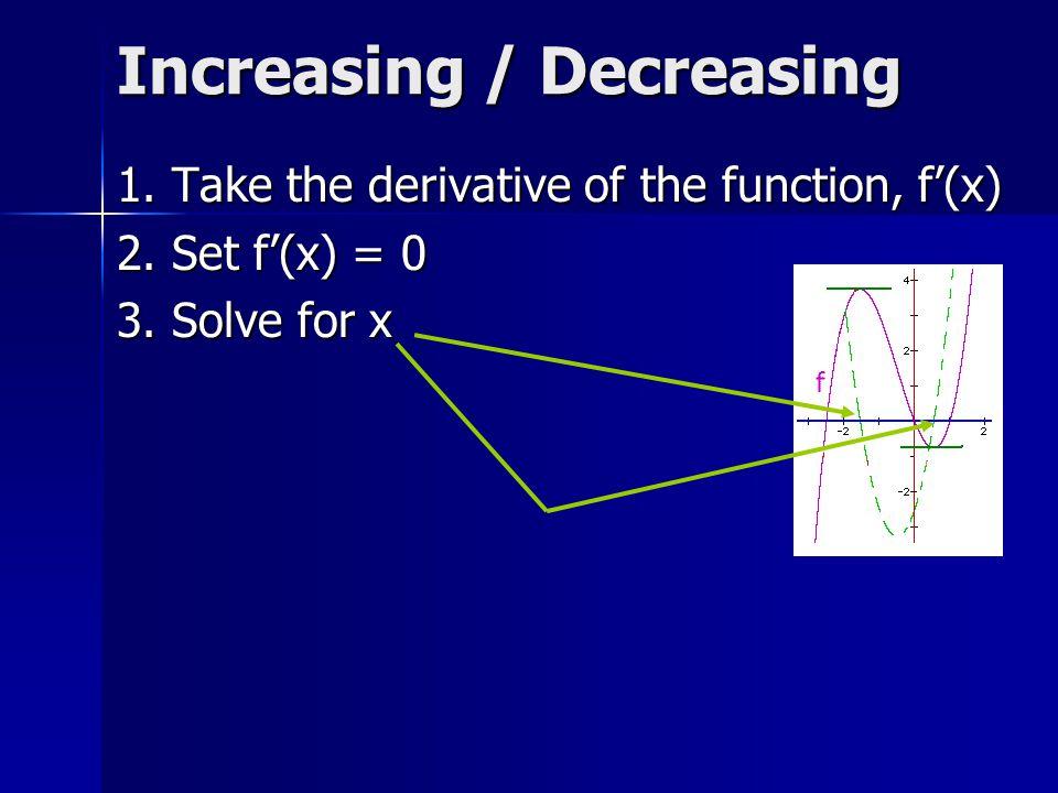 Where is f increasing? A. (-oo, -1) U (1, +oo) B. (-oo, -1) U (0, 1) C. (-1, 0) U (0, 1)