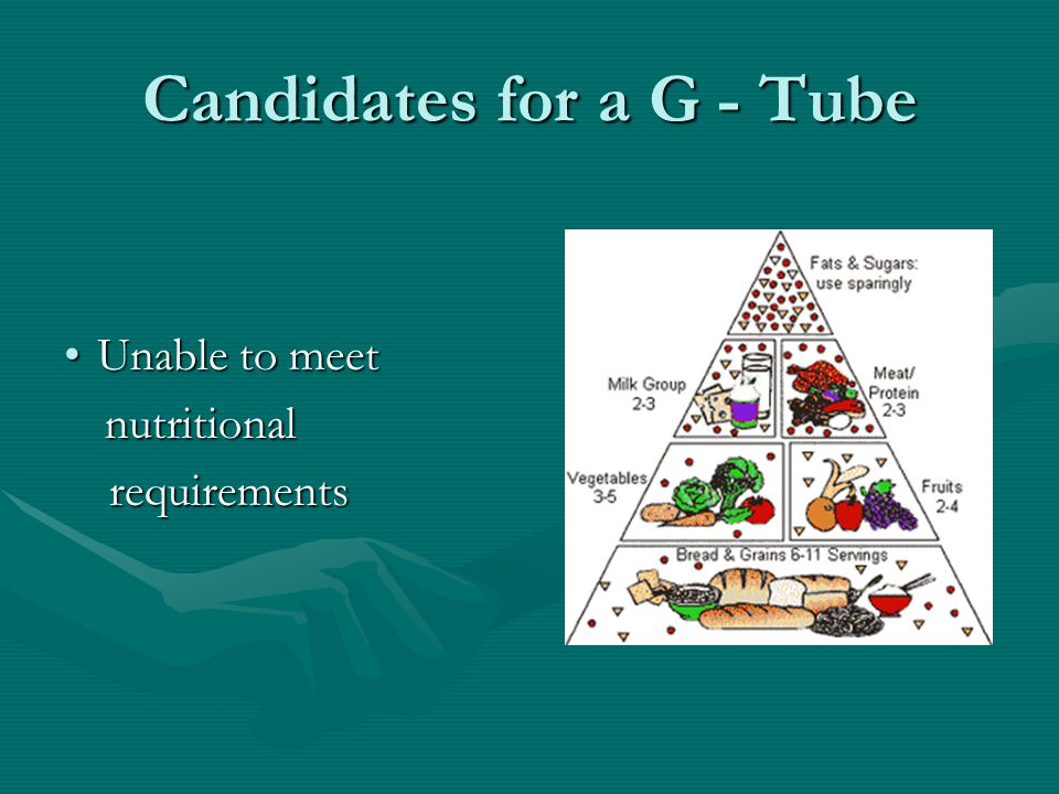 Candidates for a G - Tube Unable to meetUnable to meet nutritional nutritional requirements requirements