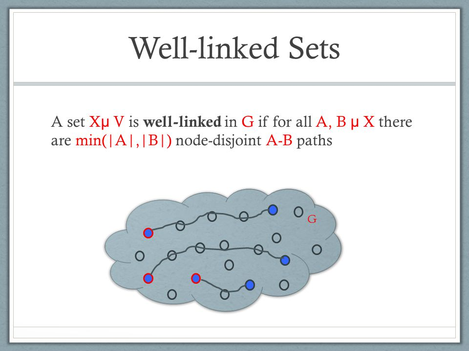 Well-linked Sets A set X µ V is well-linked in G if for all A, B µ X there are min(|A|,|B|) node-disjoint A-B paths G