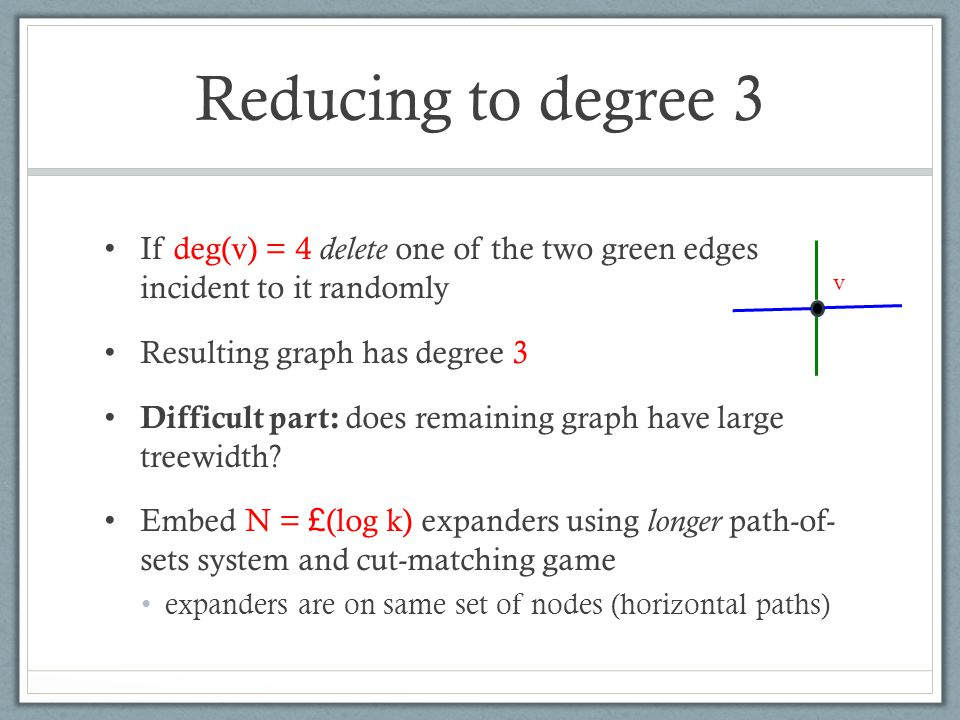 Reducing to degree 3 If deg(v) = 4 delete one of the two green edges incident to it randomly Resulting graph has degree 3 Difficult part: does remaining graph have large treewidth.