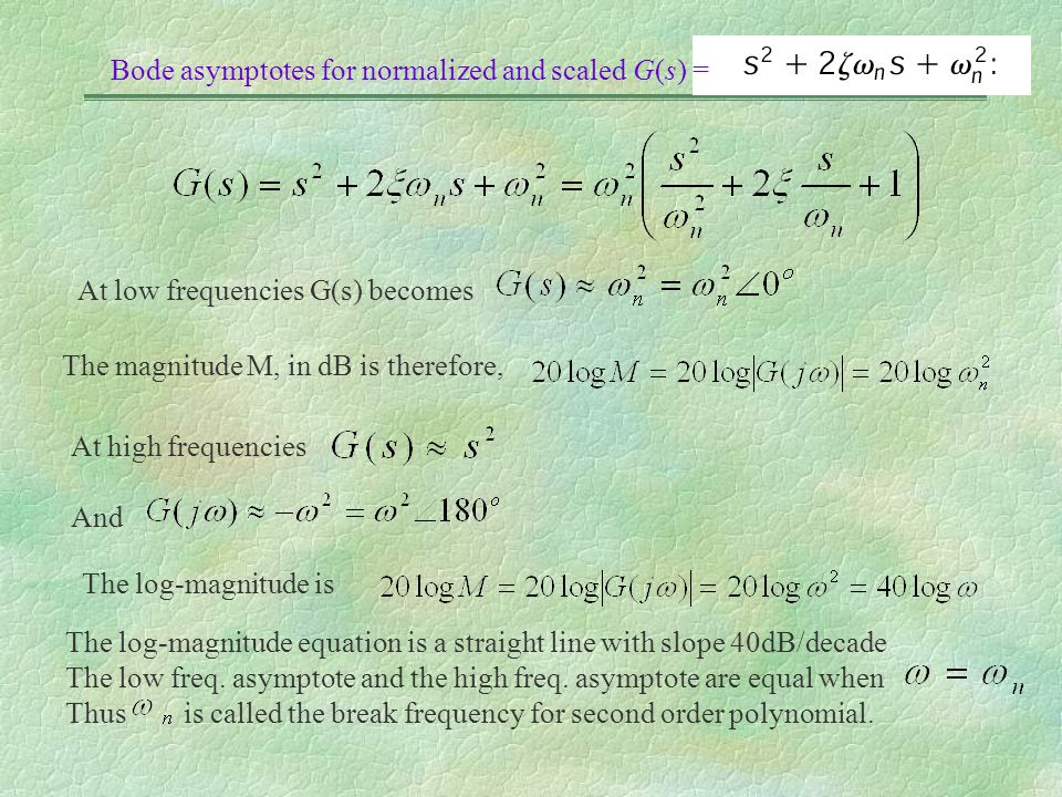 Bode asymptotes for normalized and scaled G(s) = At low frequencies G(s) becomes The magnitude M, in dB is therefore, At high frequencies And The log-