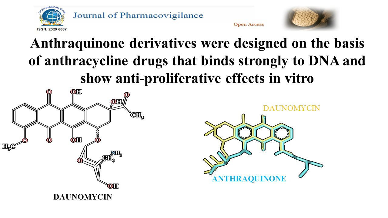 DAUNOMYCIN Anthraquinone derivatives were designed on the basis of anthracycline drugs that binds strongly to DNA and show anti-proliferative effects in vitro DAUNOMYCIN ANTHRAQUINONE