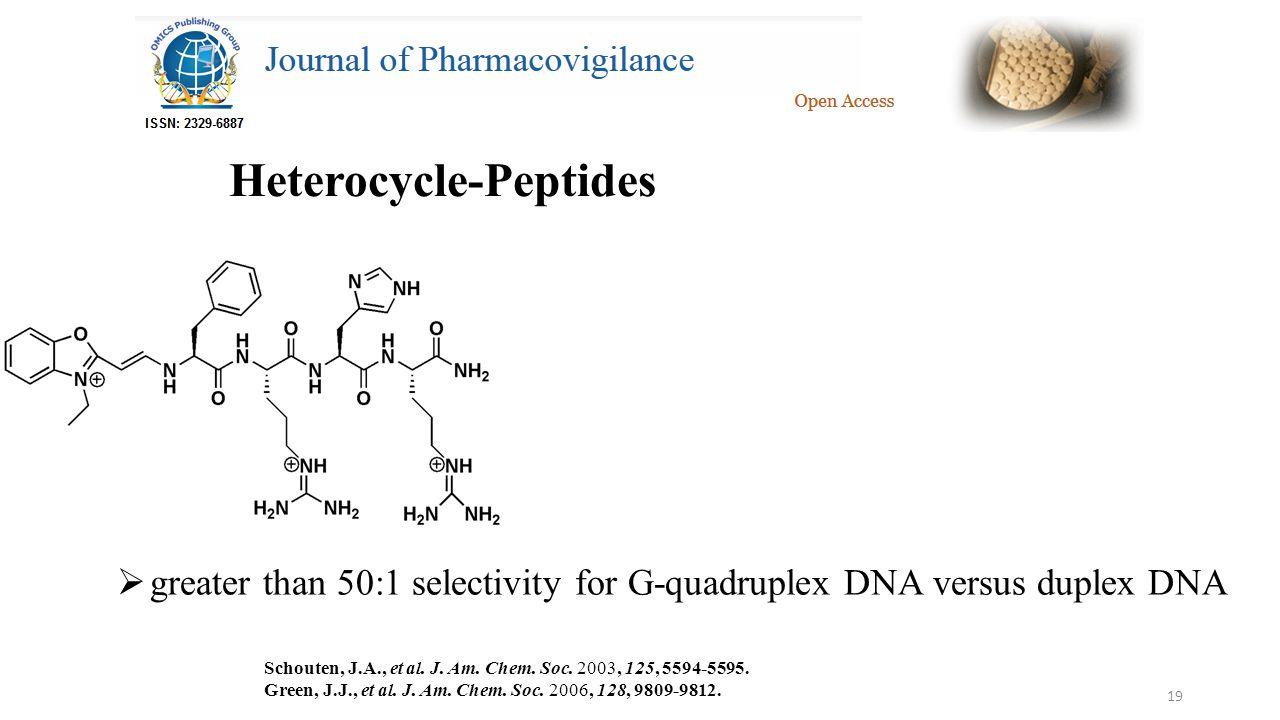 19 Heterocycle-Peptides  greater than 50:1 selectivity for G-quadruplex DNA versus duplex DNA Schouten, J.A., et al.