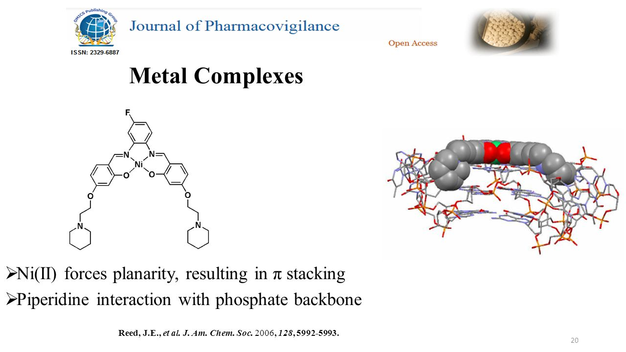 20 Metal Complexes  Ni(II) forces planarity, resulting in π stacking  Piperidine interaction with phosphate backbone Reed, J.E., et al.