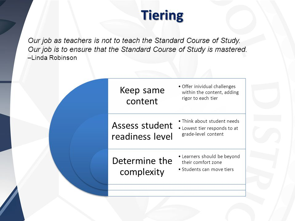 Tiering Our job as teachers is not to teach the Standard Course of Study.