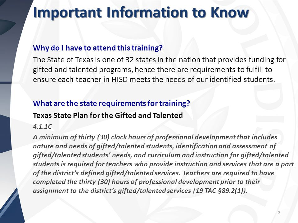 2 Important Information to Know Why do I have to attend this training.