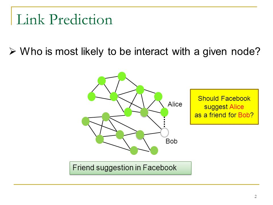 Link Prediction  Who is most likely to be interact with a given node.