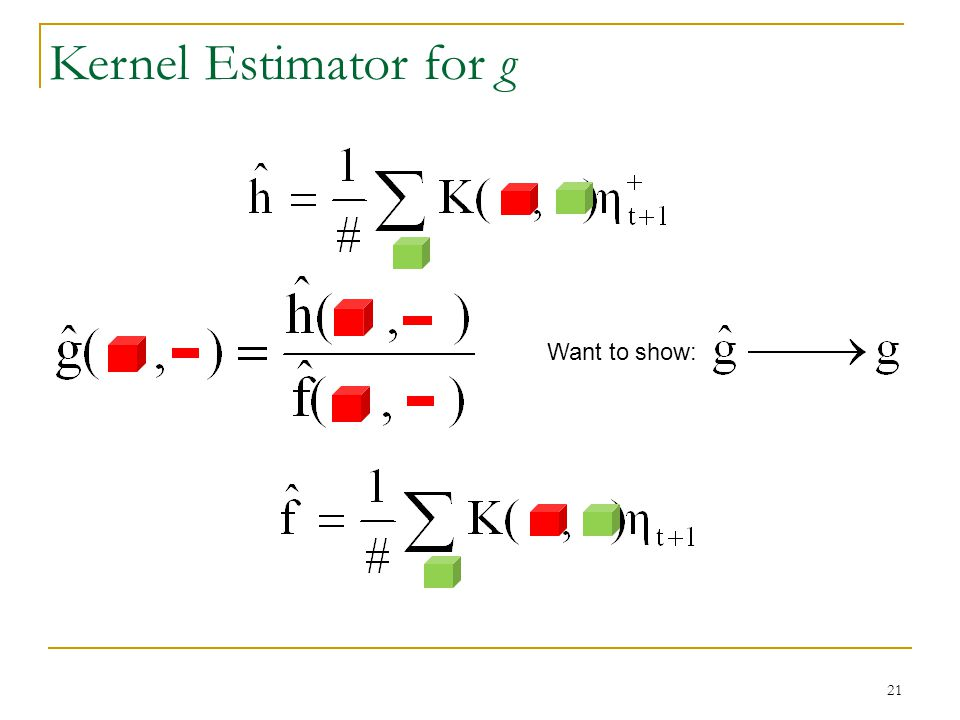 Want to show: Kernel Estimator for g 21