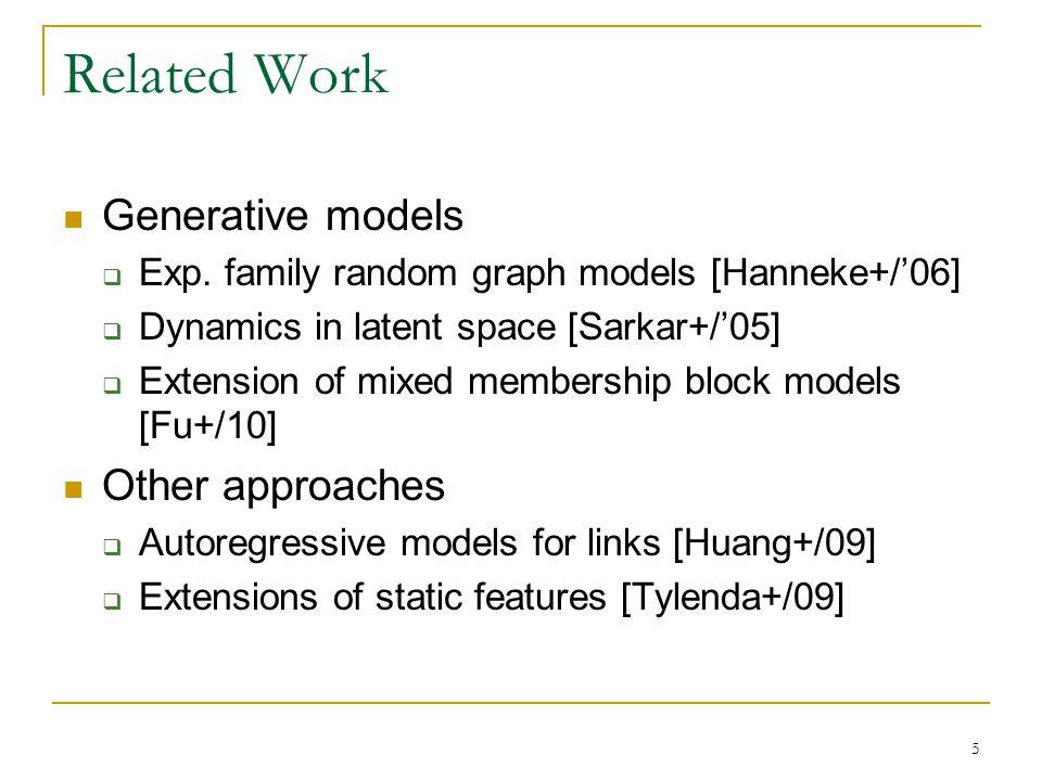 Related Work Generative models  Exp. family random graph models [Hanneke+/'06]  Dynamics in latent space [Sarkar+/'05]  Extension of mixed membersh