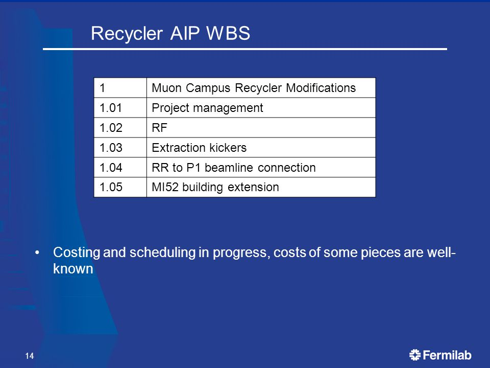Recycler AIP WBS 1Muon Campus Recycler Modifications 1.01Project management 1.02RF 1.03Extraction kickers 1.04RR to P1 beamline connection 1.05MI52 building extension 14 Costing and scheduling in progress, costs of some pieces are well- known