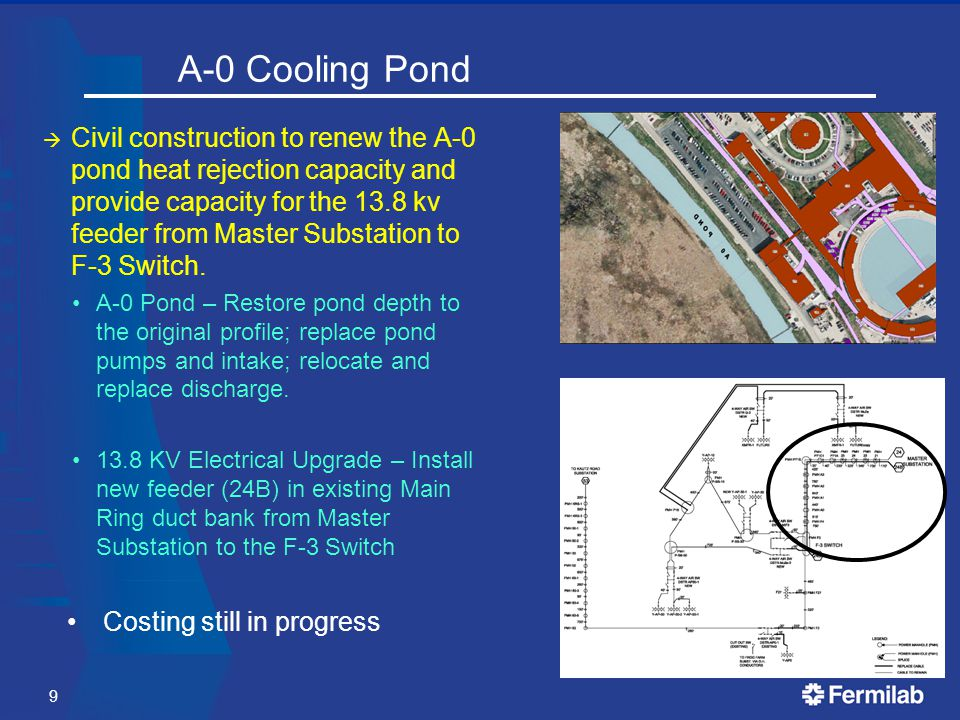 A-0 Cooling Pond  Civil construction to renew the A-0 pond heat rejection capacity and provide capacity for the 13.8 kv feeder from Master Substation to F-3 Switch.