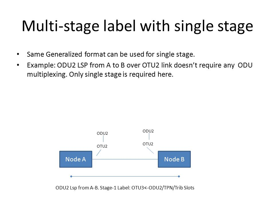 Multi-stage label with single stage Same Generalized format can be used for single stage.