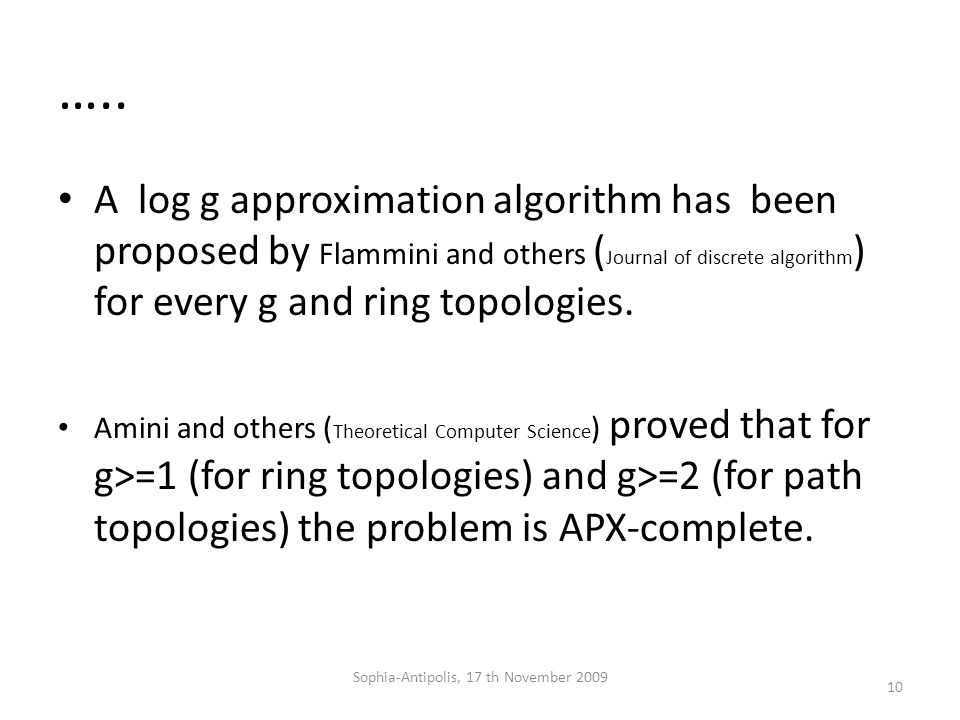 ….. A log g approximation algorithm has been proposed by Flammini and others ( Journal of discrete algorithm ) for every g and ring topologies. Amini