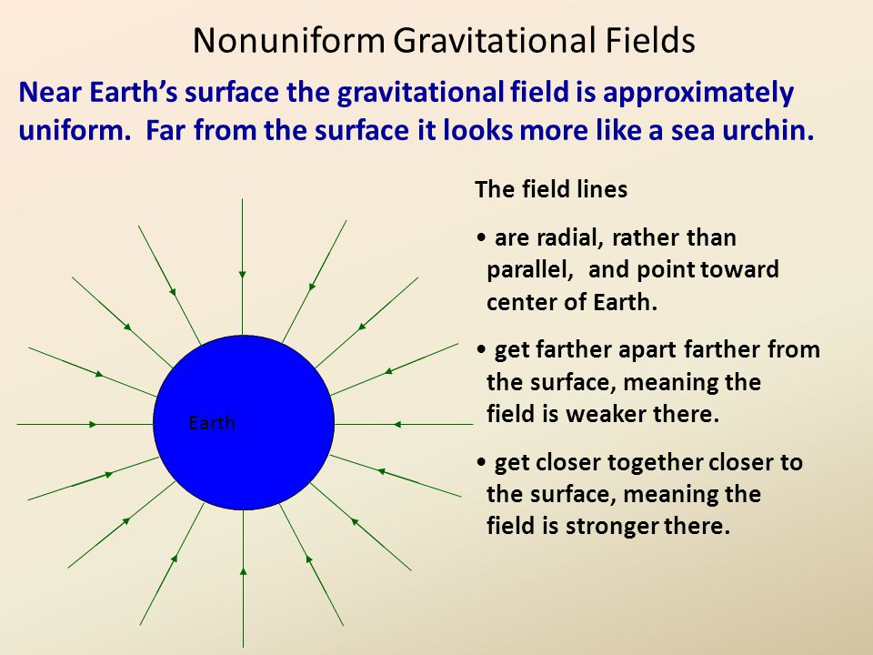 Nonuniform Gravitational Fields Near Earth's surface the gravitational field is approximately uniform.