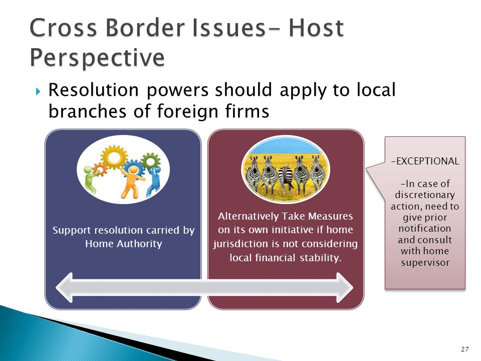  Resolution powers should apply to local branches of foreign firms 27 Support resolution carried by Home Authority Alternatively Take Measures on its own initiative if home jurisdiction is not considering local financial stability.