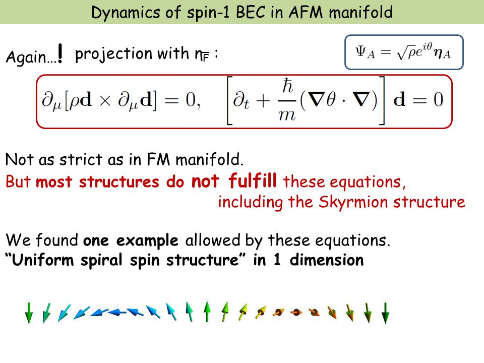 Dynamics of spin-1 BEC in AFM manifold Again… . Not as strict as in FM manifold.
