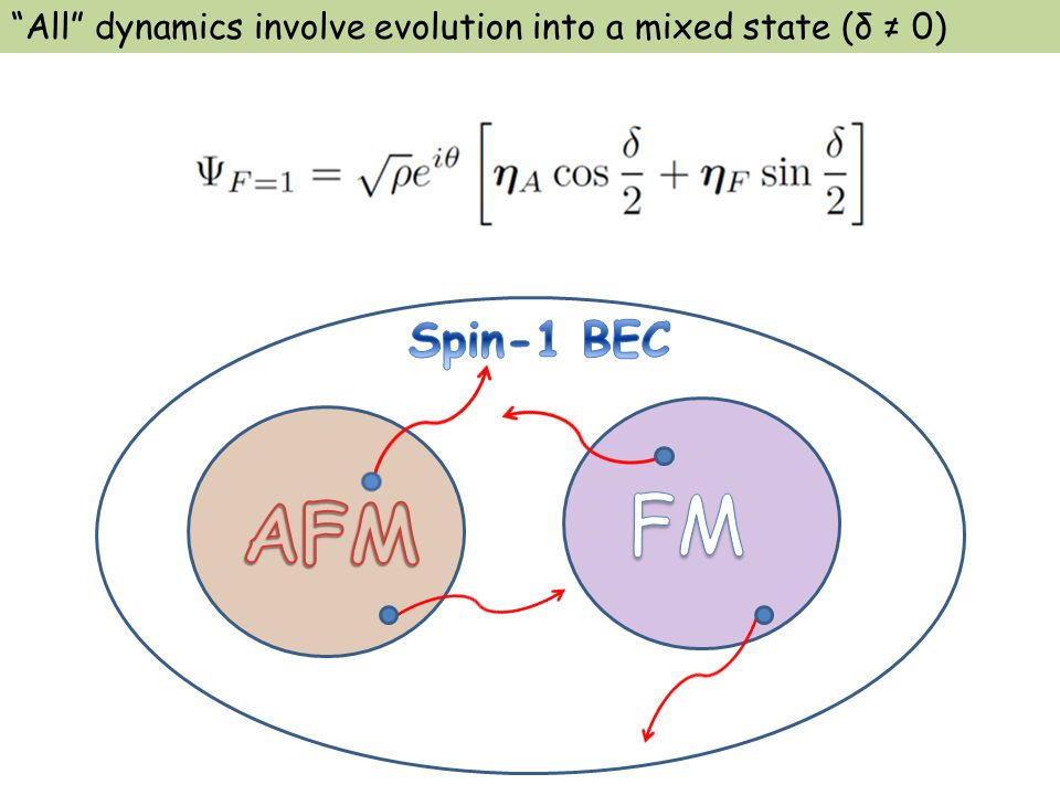 All dynamics involve evolution into a mixed state (δ ≠ 0)
