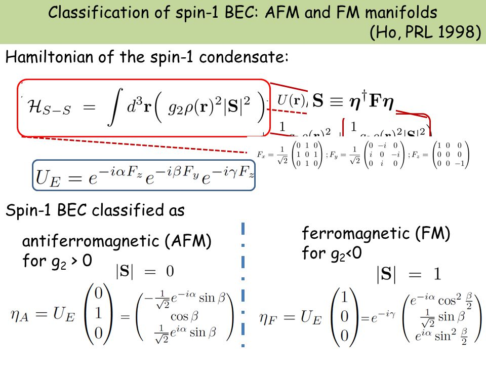 Spin-1 BEC classified as Hamiltonian of the spin-1 condensate: Classification of spin-1 BEC: AFM and FM manifolds (Ho, PRL 1998) antiferromagnetic (AFM) for g 2 > 0 ferromagnetic (FM) for g 2 <0