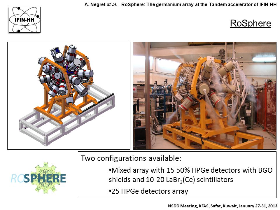 RoSphere NSDD Meeting, KFAS, Safat, Kuwait, January 27-31, 2013 A. Negret et al. - RoSphere: The germanium array at the Tandem accelerator of IFIN-HH