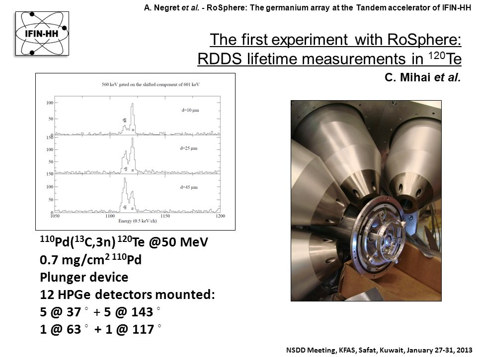 The first experiment with RoSphere: RDDS lifetime measurements in 120 Te NSDD Meeting, KFAS, Safat, Kuwait, January 27-31, 2013 A. Negret et al. - RoS