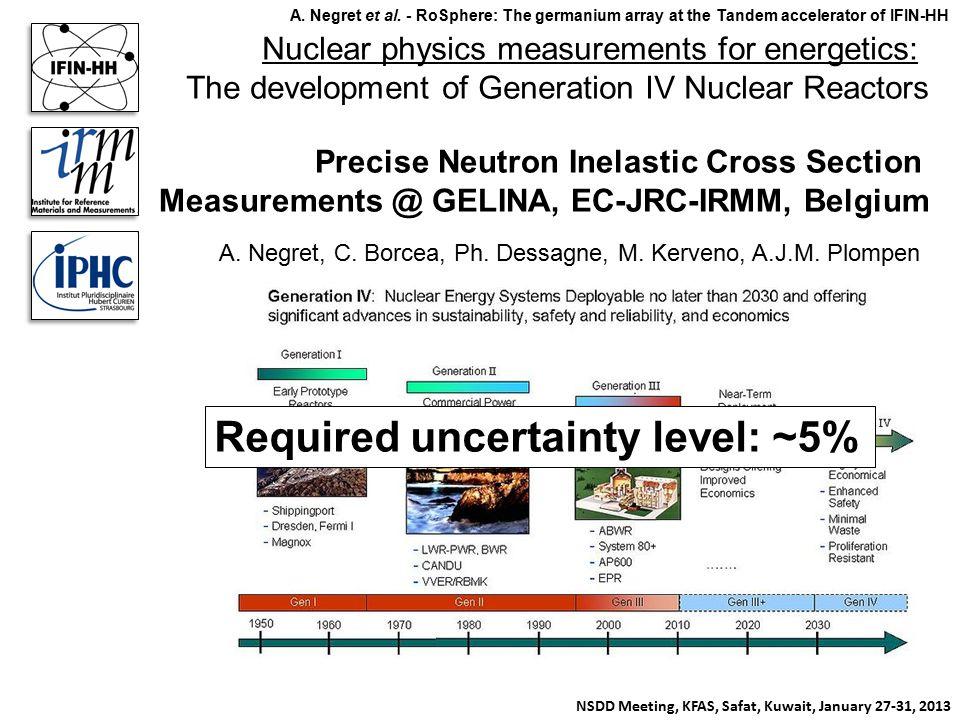 Nuclear physics measurements for energetics: The development of Generation IV Nuclear Reactors Precise Neutron Inelastic Cross Section Measurements @