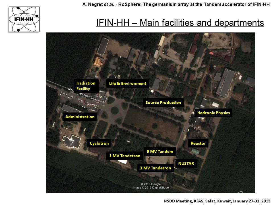 IFIN-HH – Main facilities and departments NSDD Meeting, KFAS, Safat, Kuwait, January 27-31, 2013 A. Negret et al. - RoSphere: The germanium array at t