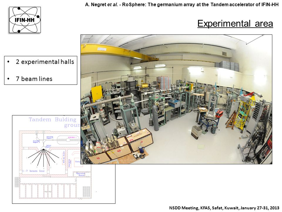 Experimental area NSDD Meeting, KFAS, Safat, Kuwait, January 27-31, 2013 A. Negret et al. - RoSphere: The germanium array at the Tandem accelerator of