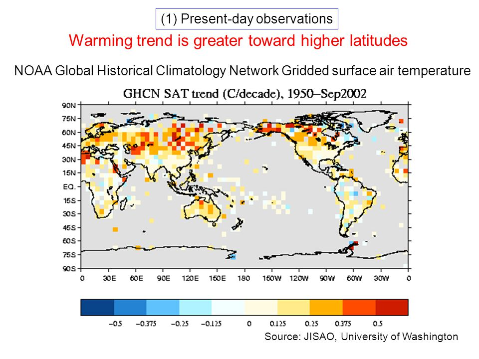 NOAA Global Historical Climatology Network Gridded surface air temperature Source: JISAO, University of Washington Warming trend is greater toward higher latitudes (1) Present-day observations