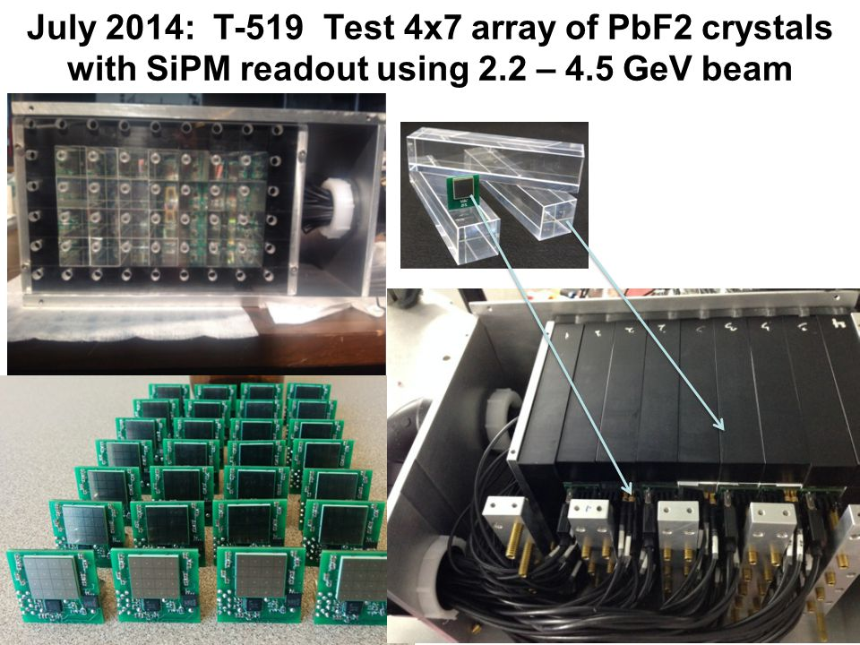 July 2014: T-519 Test 4x7 array of PbF2 crystals with SiPM readout using 2.2 – 4.5 GeV beam 8