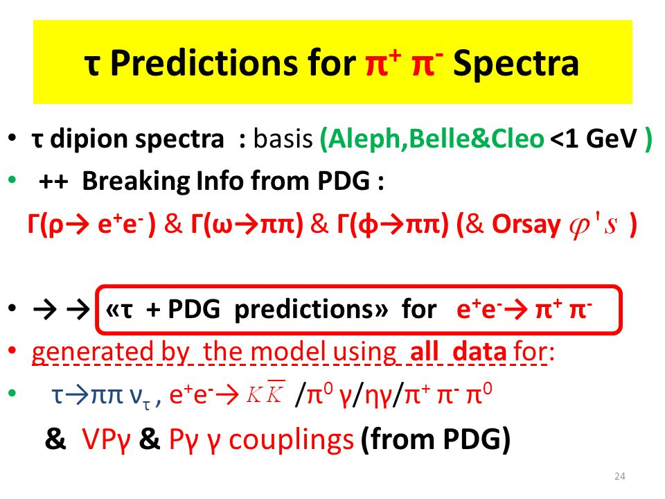 τ Predictions for π + π - Spectra τ dipion spectra : basis (Aleph,Belle&Cleo <1 GeV ) ++ Breaking Info from PDG : Γ(ρ→ e + e - ) & Γ(ω→ππ) & Γ(φ→ππ) (& Orsay ) → → «τ + PDG predictions» for e + e - → π + π - generated by the model using all data for: τ→ππ ν τ, e + e - → /π 0 γ/ηγ/π + π - π 0 & VPγ & Pγ γ couplings (from PDG) 24