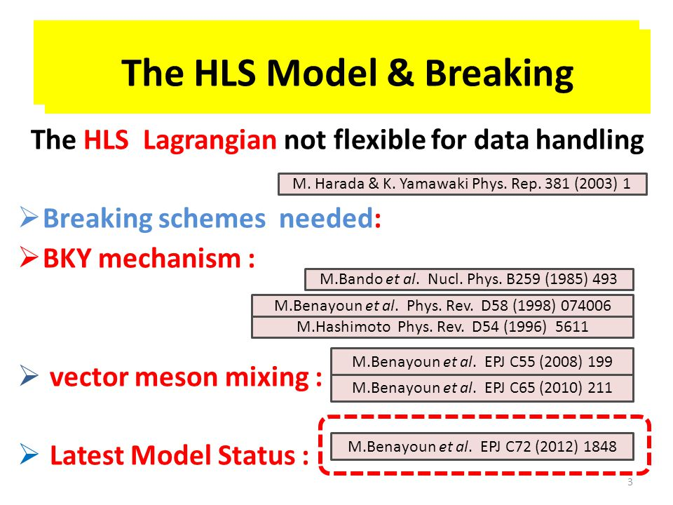 NSK2:: Breaking the HLS Model The HLS Lagrangian not flexible for data handling  Breaking schemes needed:  BKY mechanism :  vector meson mixing :  Latest Model Status : 3 M.Bando et al.
