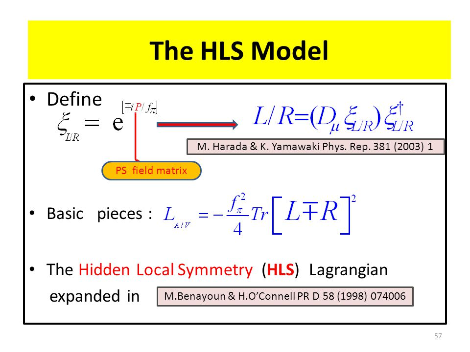 Define Basic pieces : The Hidden Local Symmetry (HLS) Lagrangian expanded in 57 The HLS Model PS field matrix M.