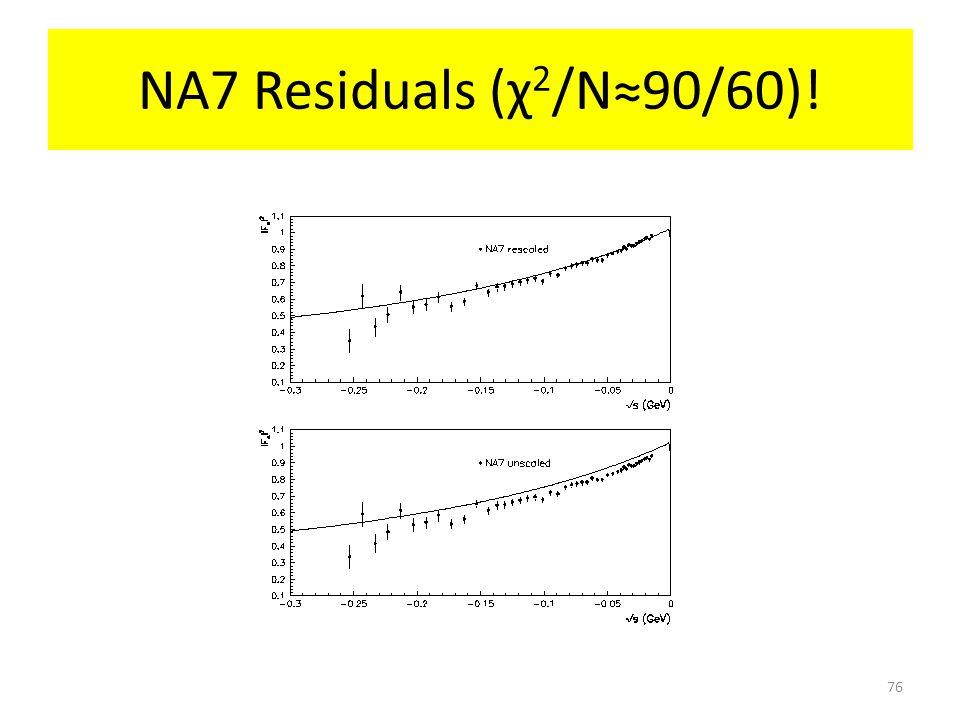 NA7 Residuals (χ 2 /N≈90/60)! 76