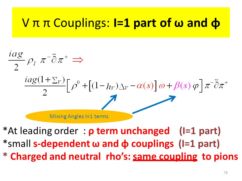 V π π Couplings: I=1 part of ω and φ *At leading order : ρ term unchanged (I=1 part) *small s-dependent ω and φ couplings (I=1 part) * Charged and neutral rho's: same coupling to pions 78 Mixing Angles I=1 terms