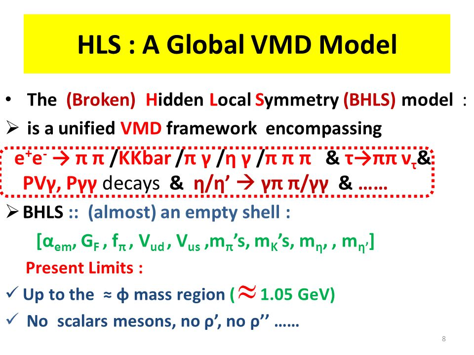 HLS : A Global VMD Model The (Broken) Hidden Local Symmetry (BHLS) model :  is a unified VMD framework encompassing e + e - → π π /KKbar /π γ /η γ /π π π & τ→ππ ν τ & PVγ, Pγγ decays & η/η'  γπ π/γγ & ……  BHLS :: (almost) an empty shell : [α em, G F, f π, V ud, V us,m π 's, m K 's, m η,, m η' ] Present Limits : Up to the ≈ φ mass region ( 1.05 GeV) No scalars mesons, no ρ', no ρ'' …… 8