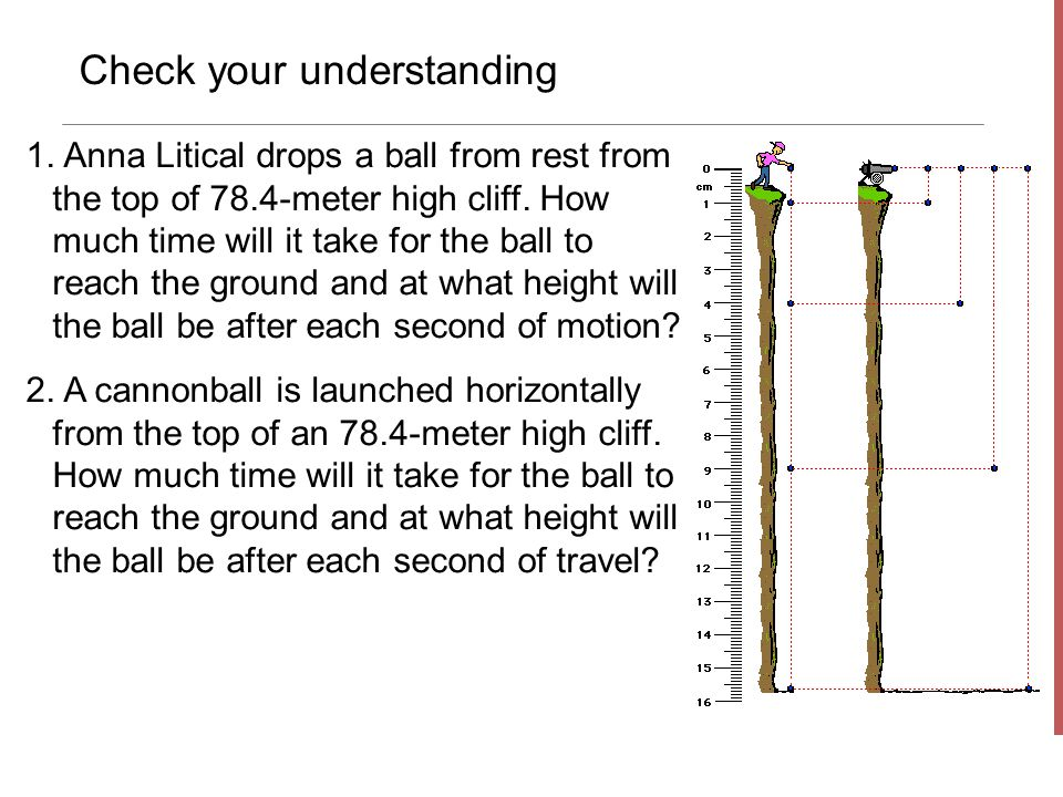 Check your understanding 1. Anna Litical drops a ball from rest from the top of 78.4-meter high cliff. How much time will it take for the ball to reac