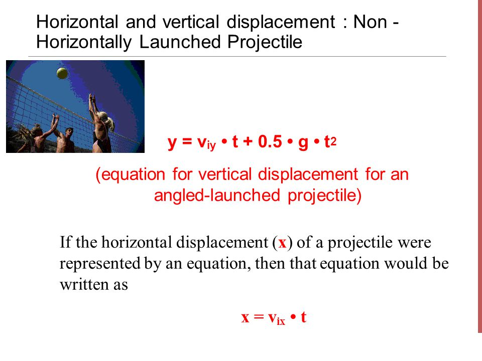Horizontal and vertical displacement : Non - Horizontally Launched Projectile y = v iy t + 0.5 g t 2 (equation for vertical displacement for an angled