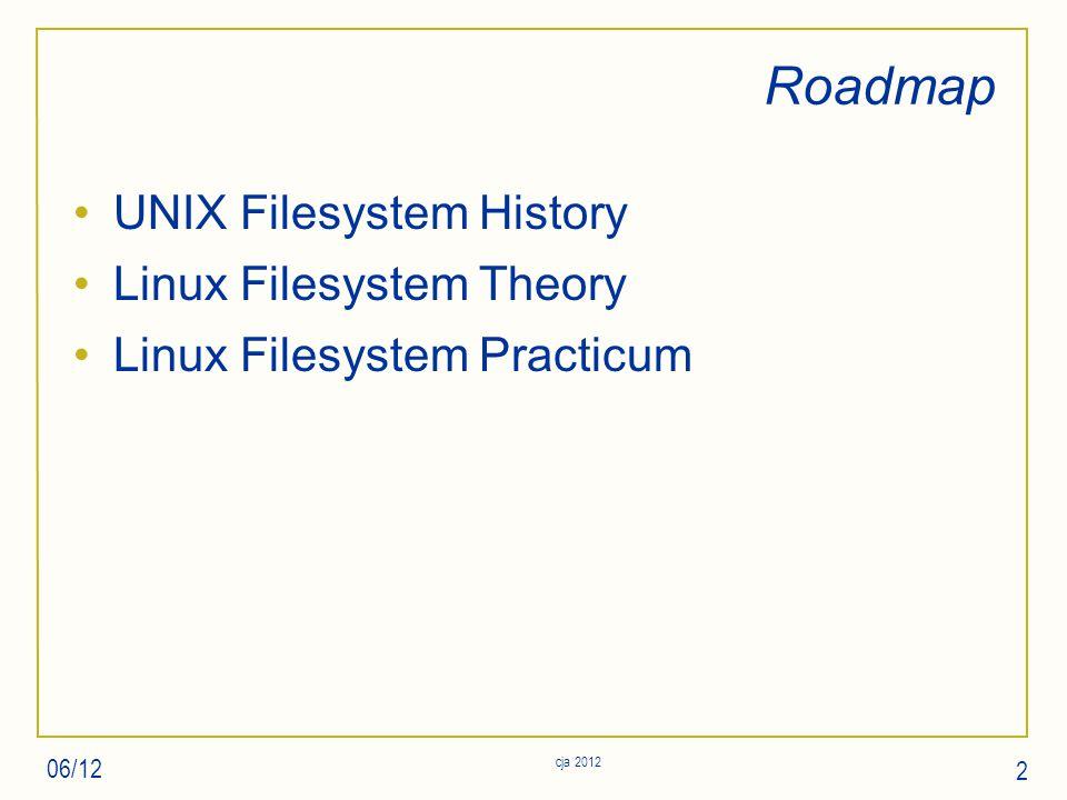 Roadmap UNIX Filesystem History Linux Filesystem Theory Linux Filesystem Practicum 06/12 cja 2012 2