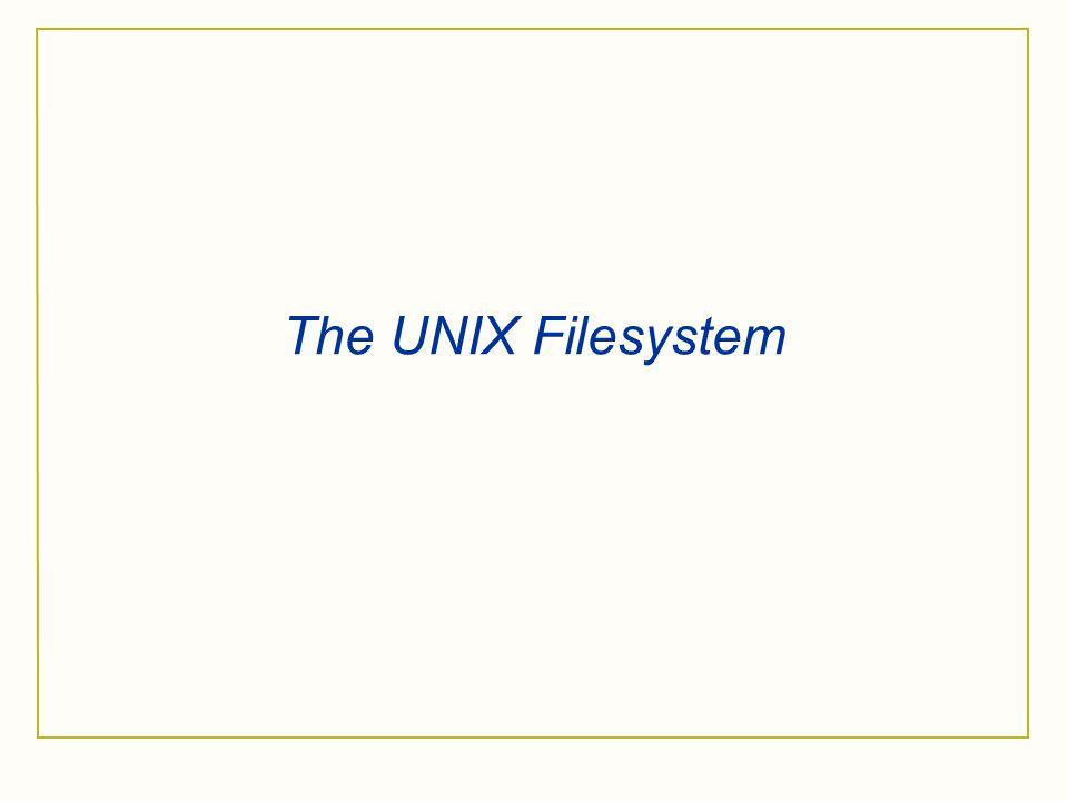 The UNIX Filesystem