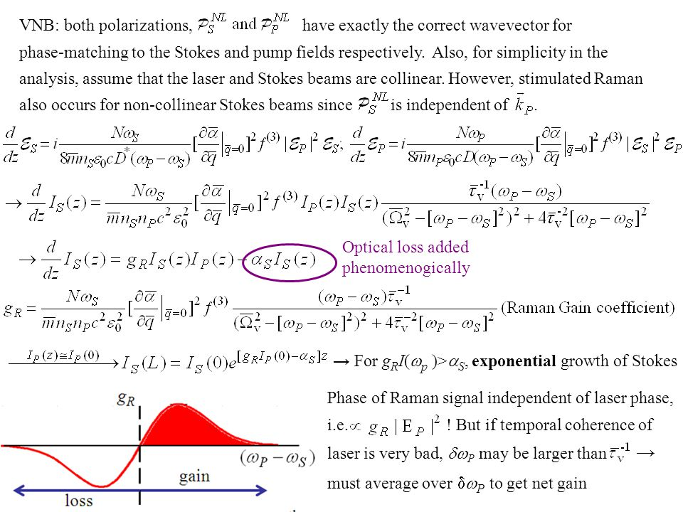 Substituting into driven wave equation for q z The damping of acoustic phonons at the frequencies typical of stimulated Brillouin (10's GHz) frequencies is large with decay lengths less than 100  m.