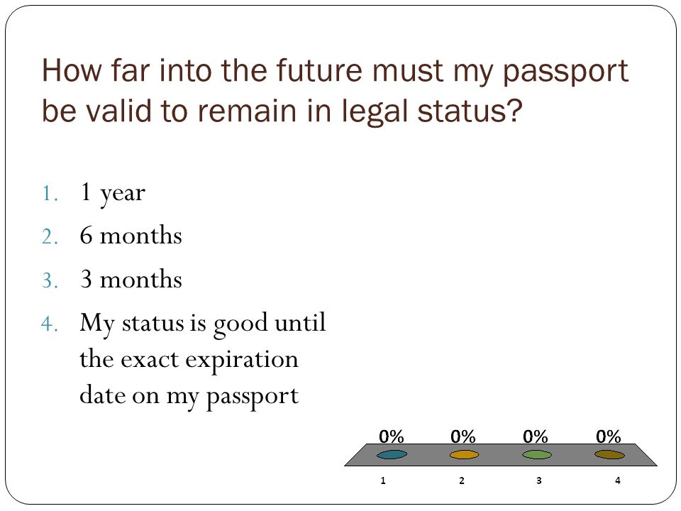 How far into the future must my passport be valid to remain in legal status.
