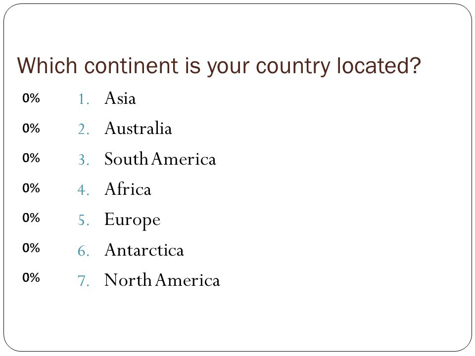 Which continent is your country located. 1. Asia 2.