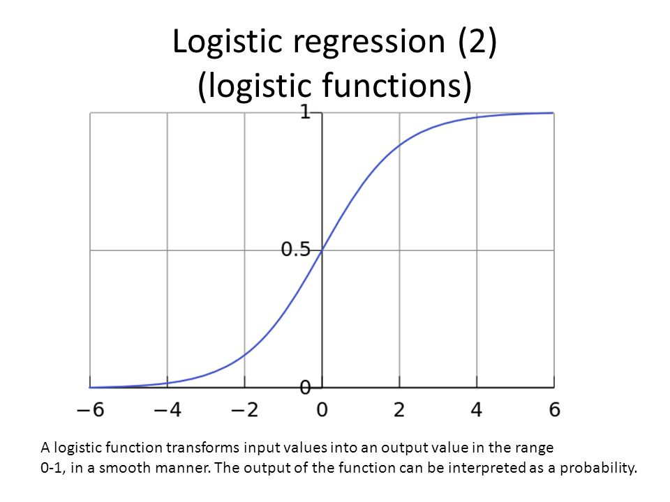 Logistic regression (2) (logistic functions) A logistic function transforms input values into an output value in the range 0-1, in a smooth manner.