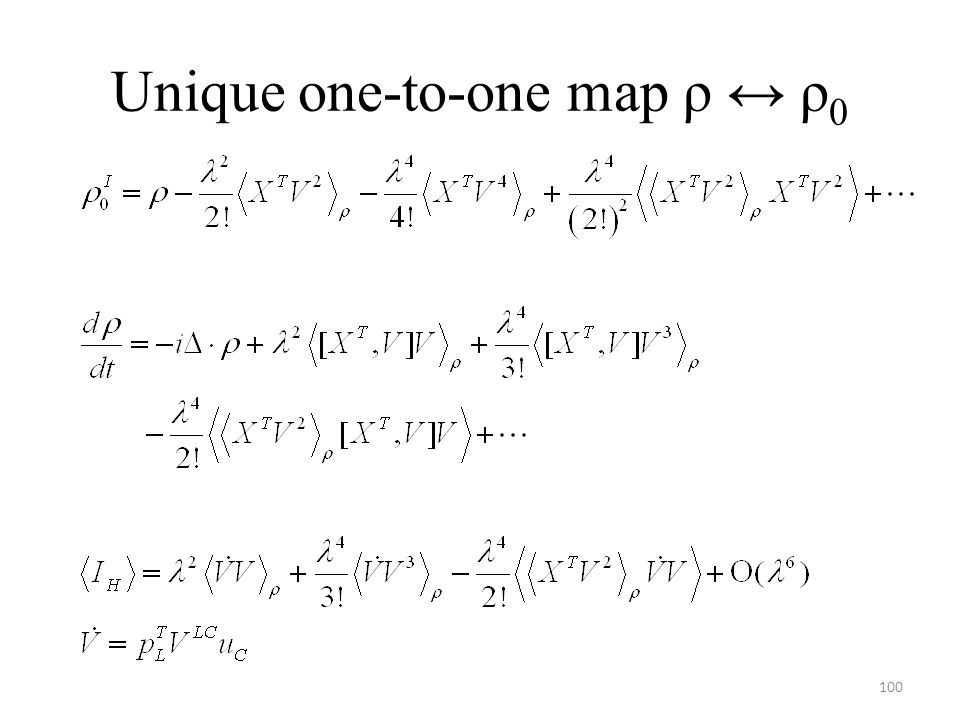 Unique one-to-one map ρ ↔ ρ 0 100