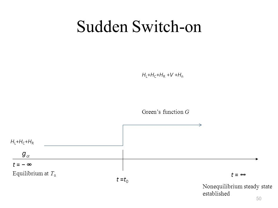 Sudden Switch-on 50 t = ∞ t = −  HL+HC+HRHL+HC+HR H L +H C +H R +V +H n gg Green's function G Equilibrium at T α Nonequilibrium steady state establ