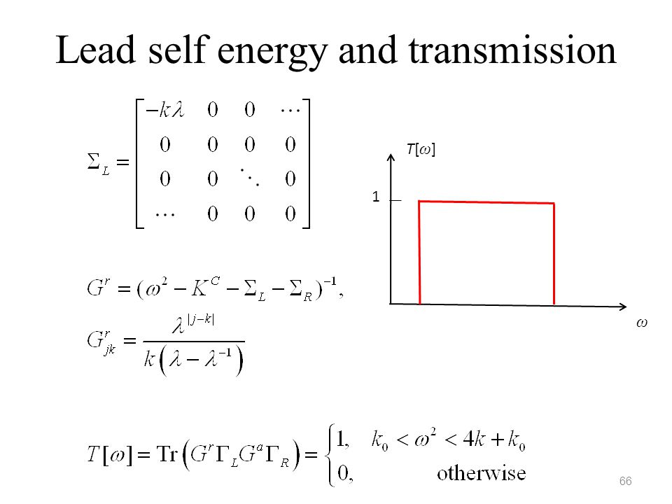 Lead self energy and transmission 66 T[ω]T[ω] ω 1