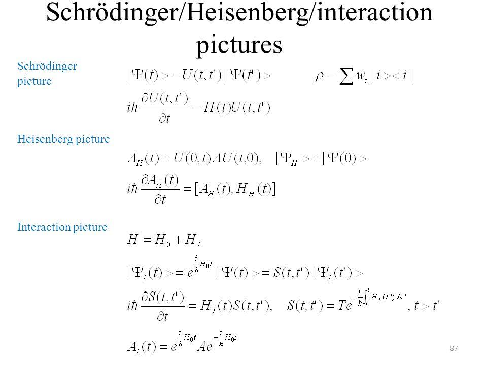 Schrödinger/Heisenberg/interaction pictures 87 Schrödinger picture Heisenberg picture Interaction picture